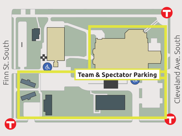 Map of parking and shuttle drop-offs for Special Olympics Minnesota 2019 Summer Games